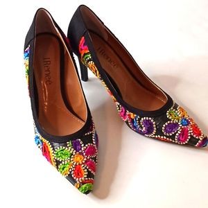 NEW! J. Renee Black Floral Pointy Heels 7